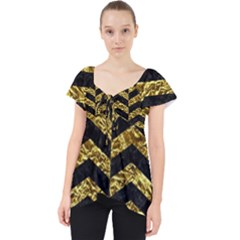 Chevron2 Black Marble & Gold Foil Lace Front Dolly Top