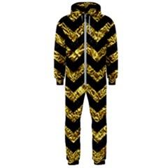 Chevron3 Black Marble & Gold Foil Hooded Jumpsuit (men)