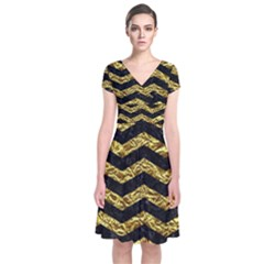 Chevron3 Black Marble & Gold Foil Short Sleeve Front Wrap Dress