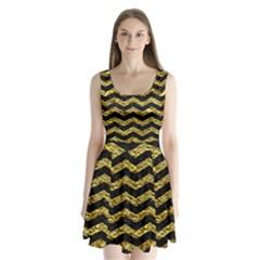 Chevron3 Black Marble & Gold Foil Split Back Mini Dress