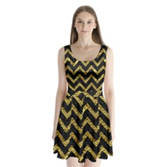 Chevron9 Black Marble & Gold Foil Split Back Mini Dress