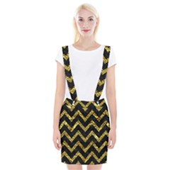 Chevron9 Black Marble & Gold Foil Braces Suspender Skirt