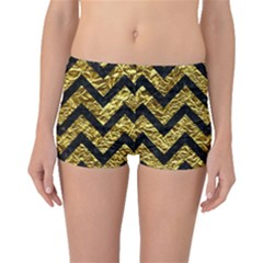 Chevron9 Black Marble & Gold Foil (r) Boyleg Bikini Bottoms