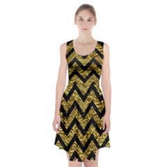 Chevron9 Black Marble & Gold Foil (r) Racerback Midi Dress