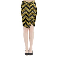 Chevron9 Black Marble & Gold Foil (r) Midi Wrap Pencil Skirt