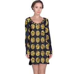 Circles1 Black Marble & Gold Foil Long Sleeve Nightdress