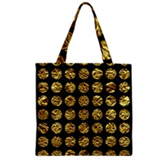 Circles1 Black Marble & Gold Foil Zipper Grocery Tote Bag