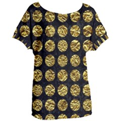 Circles1 Black Marble & Gold Foil Women s Oversized Tee