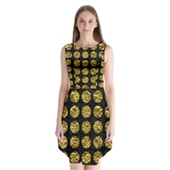 Circles1 Black Marble & Gold Foil Sleeveless Chiffon Dress
