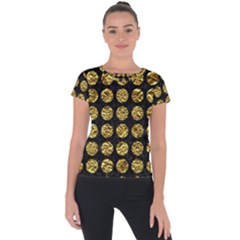 Circles1 Black Marble & Gold Foil Short Sleeve Sports Top