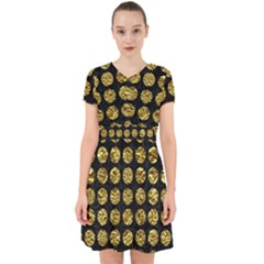 Circles1 Black Marble & Gold Foil Adorable In Chiffon Dress