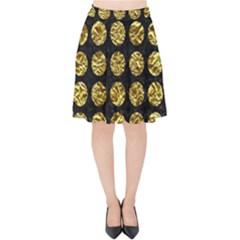 Circles1 Black Marble & Gold Foil Velvet High Waist Skirt