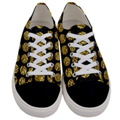 Circles1 Black Marble & Gold Foil Women s Low Top Canvas Sneakers