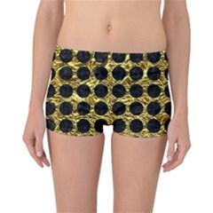 Circles1 Black Marble & Gold Foil (r) Reversible Boyleg Bikini Bottoms