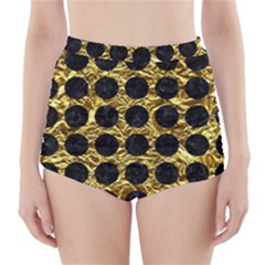 Circles1 Black Marble & Gold Foil (r) High Waisted Bikini Bottoms