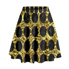 Circles1 Black Marble & Gold Foil (r) High Waist Skirt