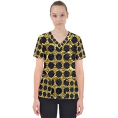 Circles1 Black Marble & Gold Foil (r) Scrub Top