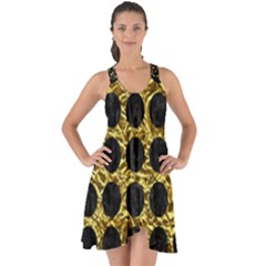 Circles1 Black Marble & Gold Foil (r) Show Some Back Chiffon Dress