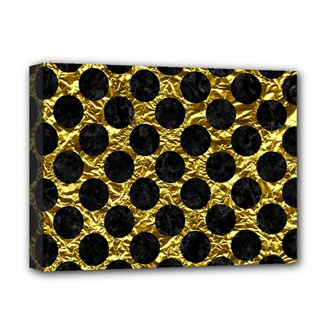 Circles2 Black Marble & Gold Foil (r) Deluxe Canvas 16  X 12