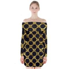 Circles2 Black Marble & Gold Foil (r) Long Sleeve Off Shoulder Dress