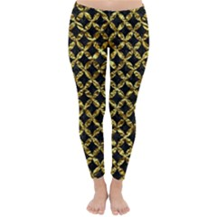 Circles3 Black Marble & Gold Foil Classic Winter Leggings