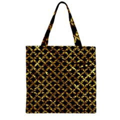 Circles3 Black Marble & Gold Foil Zipper Grocery Tote Bag