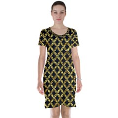 Circles3 Black Marble & Gold Foil Short Sleeve Nightdress