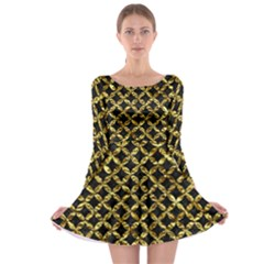 Circles3 Black Marble & Gold Foil Long Sleeve Skater Dress