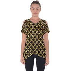 Circles3 Black Marble & Gold Foil Cut Out Side Drop Tee