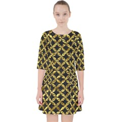 Circles3 Black Marble & Gold Foil Pocket Dress