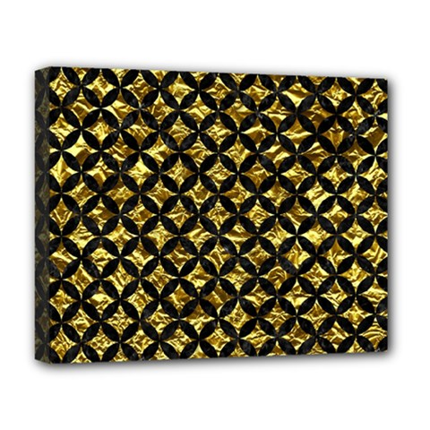 Circles3 Black Marble & Gold Foil (r) Deluxe Canvas 20  X 16