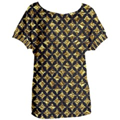 Circles3 Black Marble & Gold Foil (r) Women s Oversized Tee