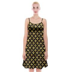 Circles3 Black Marble & Gold Foil (r) Spaghetti Strap Velvet Dress