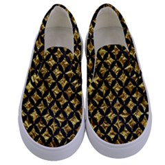 Circles3 Black Marble & Gold Foil (r) Kids  Canvas Slip Ons