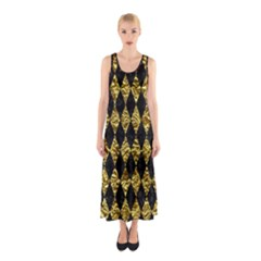 Diamond1 Black Marble & Gold Foil Sleeveless Maxi Dress