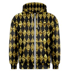 Diamond1 Black Marble & Gold Foil Men s Zipper Hoodie