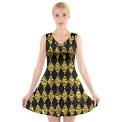 Diamond1 Black Marble & Gold Foil V Neck Sleeveless Skater Dress