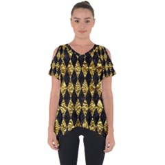 Diamond1 Black Marble & Gold Foil Cut Out Side Drop Tee