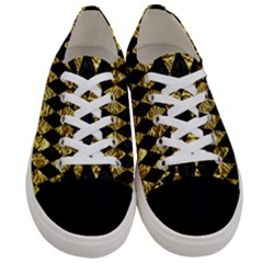 Diamond1 Black Marble & Gold Foil Women s Low Top Canvas Sneakers