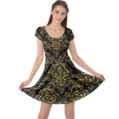 Damask1 Black Marble & Gold Foil Cap Sleeve Dress