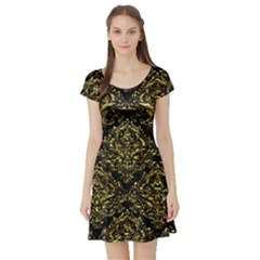 Damask1 Black Marble & Gold Foil Short Sleeve Skater Dress