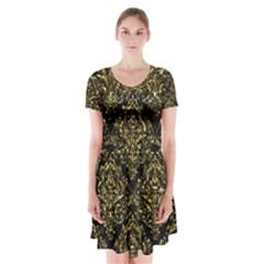 Damask1 Black Marble & Gold Foil Short Sleeve V Neck Flare Dress