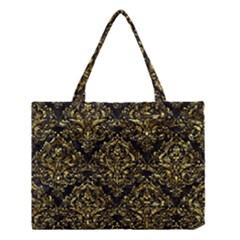 Damask1 Black Marble & Gold Foil Medium Tote Bag