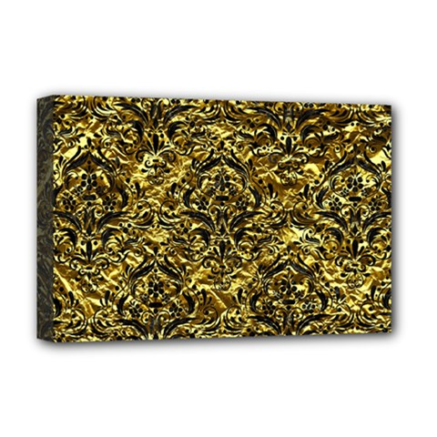 Damask1 Black Marble & Gold Foil (r) Deluxe Canvas 18  X 12