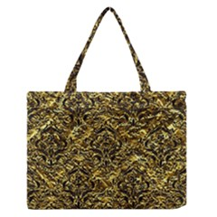 Damask1 Black Marble & Gold Foil (r) Zipper Medium Tote Bag