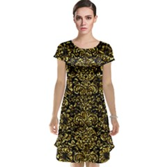 Damask2 Black Marble & Gold Foil Cap Sleeve Nightdress