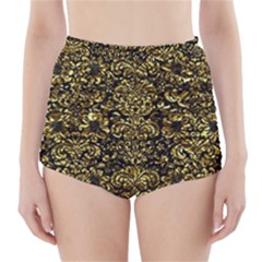 Damask2 Black Marble & Gold Foil High Waisted Bikini Bottoms
