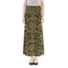 Damask2 Black Marble & Gold Foil Full Length Maxi Skirt