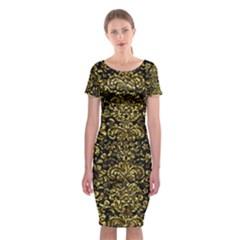 Damask2 Black Marble & Gold Foil Classic Short Sleeve Midi Dress