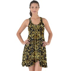 Damask2 Black Marble & Gold Foil Show Some Back Chiffon Dress